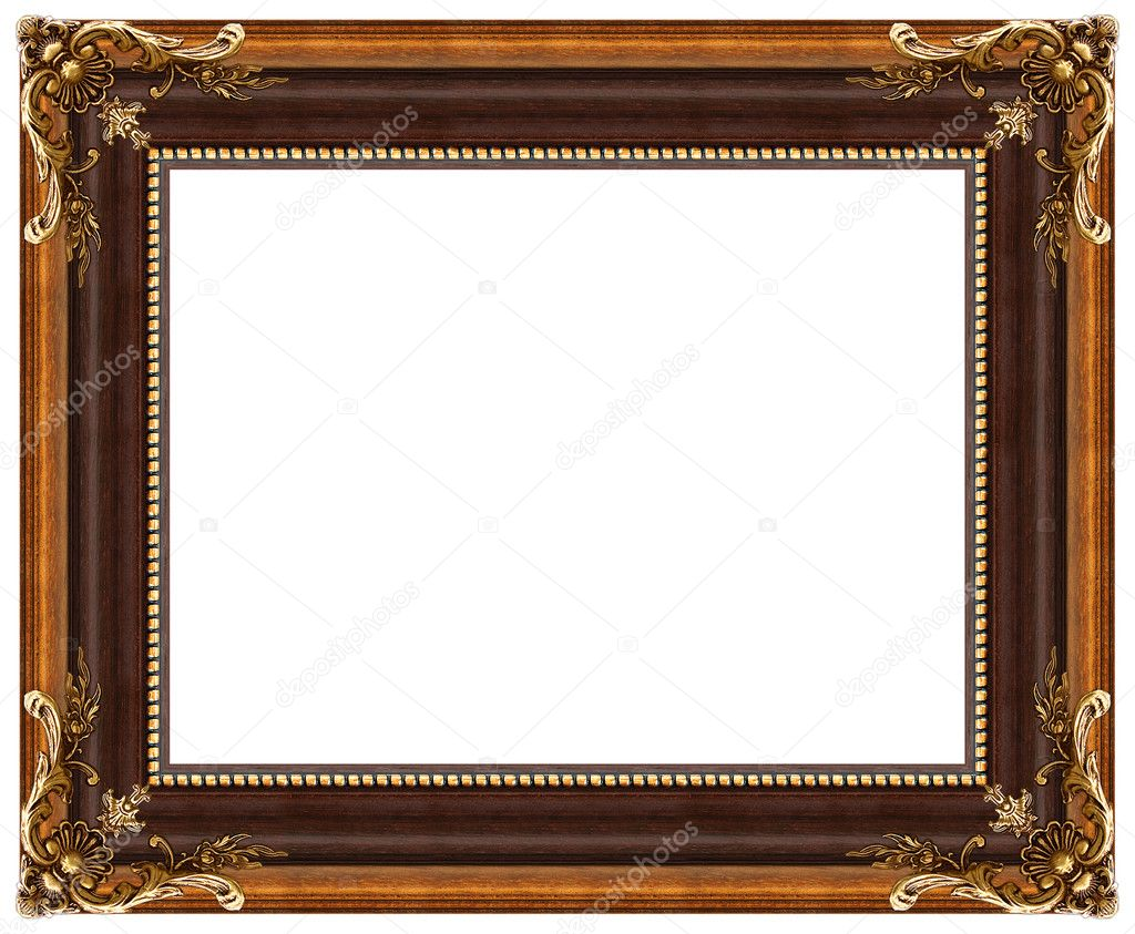 Oval gold picture frame with a decorative pattern — Stock Photo #1170910