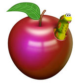 Worm in an apple — Stock Photo