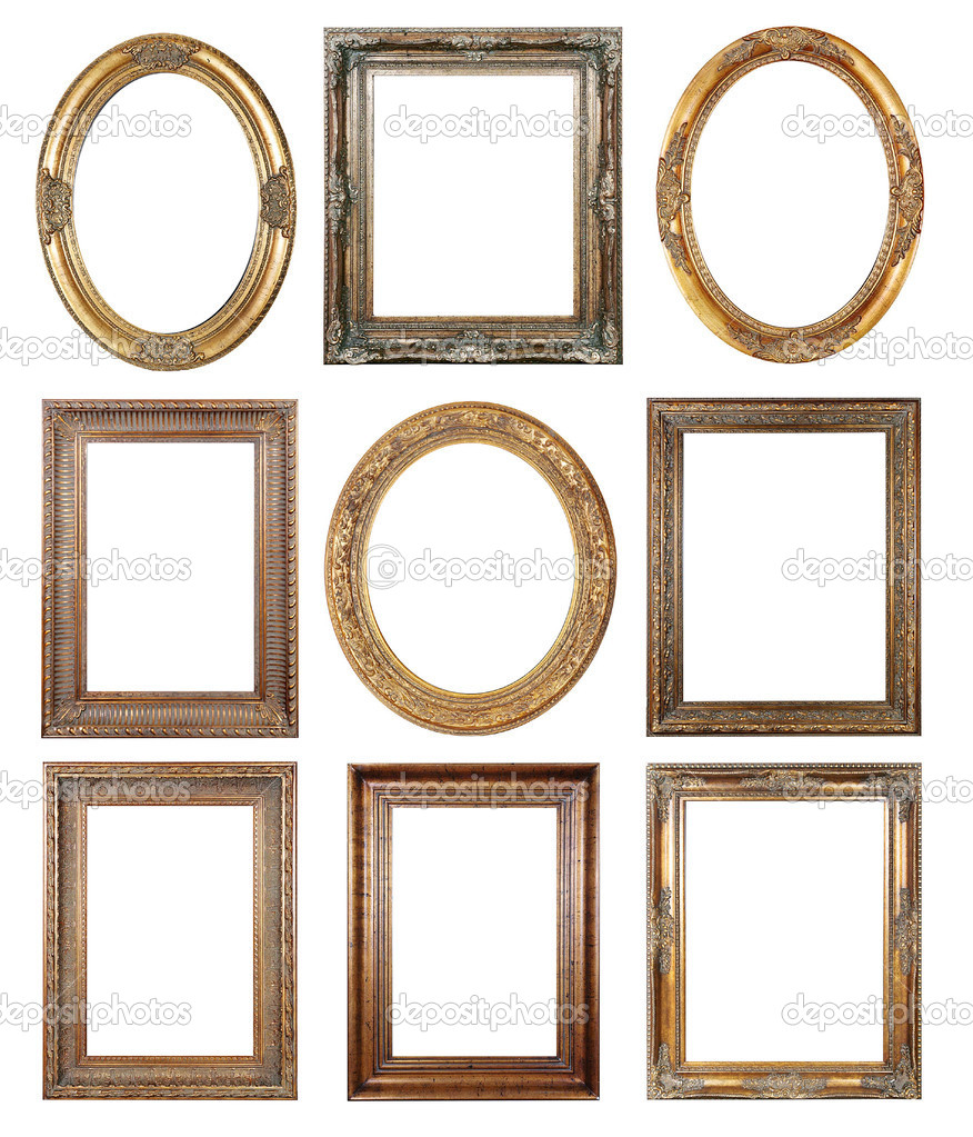 Oval and rectangular gold picture frame with a decorative pattern — Photo #1216355
