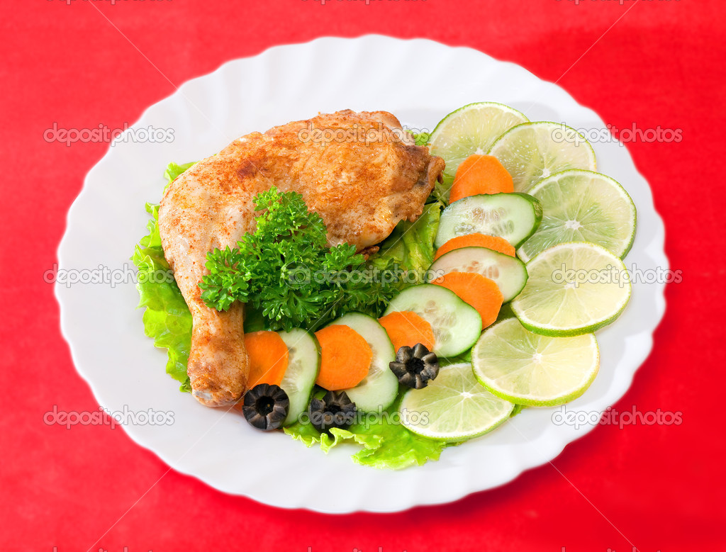Fried chicken leg on a plate — Stock Photo #1217138