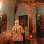 Pray god at crucifix in church — Stock Photo #1061132