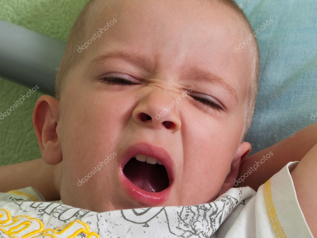 Little tired human child yawning cute face — Stock Photo #1223225