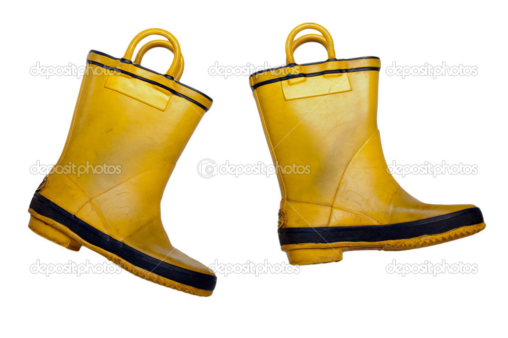 Rain shoe - yellow rubber waterproof boot on white  Stock Photo #1331979