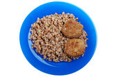 Cutlet buckwheat food — Stock Photo