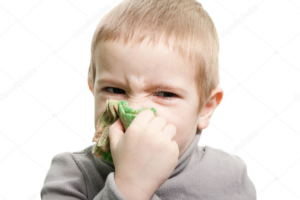 Human child cold flu illness tissue blowing nose — Stock Photo #2676703
