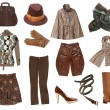 Women brown clothes set - Stock Photo