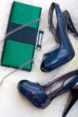 Women shoes and clutch — Stok fotoğraf