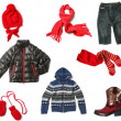 Stock Photo: Kids clothes set isolated on white