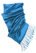 Blue scarf isolated on white — Stock Photo