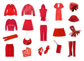 Red female clothes set — Stock Photo