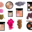 Set of eyeshadows and blush palettes — Stock Photo
