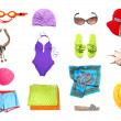 Beach clothes and accessories set - Stock Photo