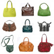 Women leather bags set — Stock Photo