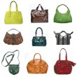 Women leather bags set — Stock Photo