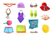 Beach clothes and accessories set — Stock Photo