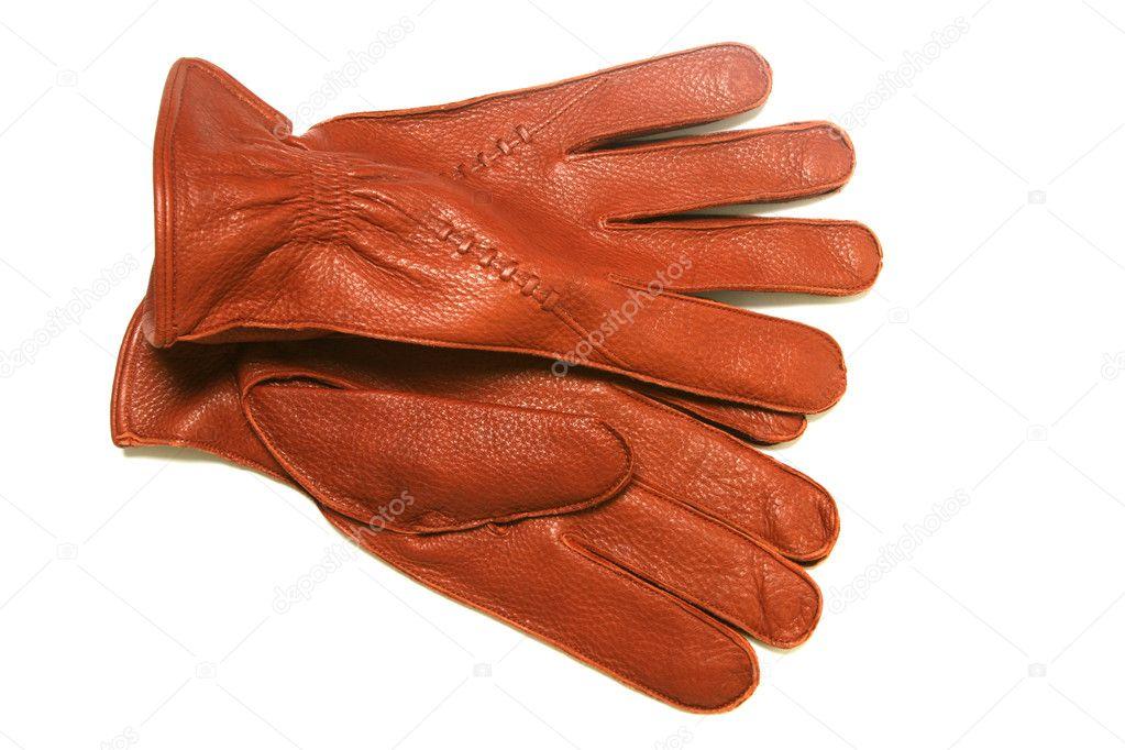 Фото автора kadroff. Коричневые кожаные перчатки, изолированные на белом ф