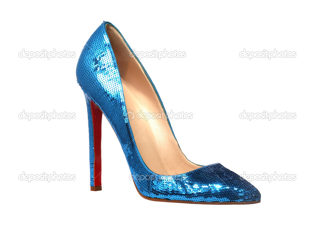 Blue shiny women shoe isolated on white  Stock Photo #1258299