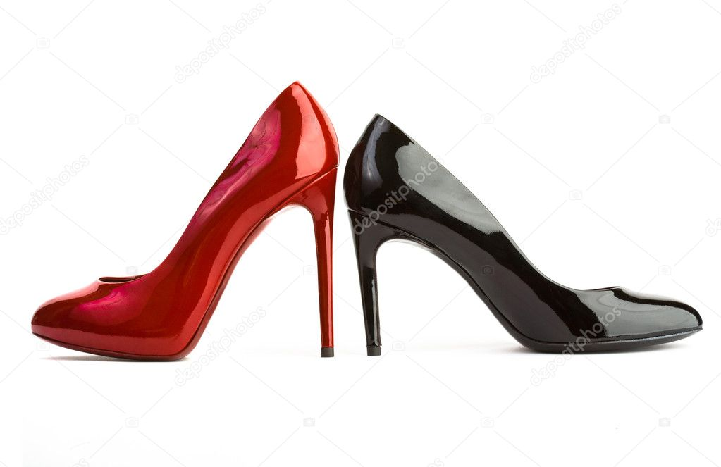 Red and black high heel women shoes on white background — Stock Photo #2219551