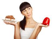 Diet. hard decision — Stock Photo