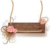 Textura de madera con rosas — Vector de stock