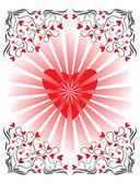 Hjärta med ornament — Stockvektor