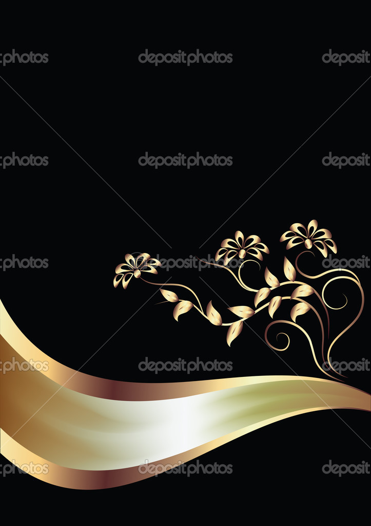 Background with ornament ang elegant ribbon — Stock Vector #2205211