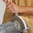 Handyman work at grindstone — Stock Photo