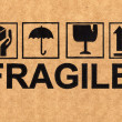 Stock Photo: Fragile symbol on cardboard