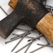 Hammer and nail background - Stockfoto