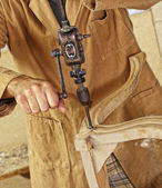 Carpenter with hand drill — Stock Photo