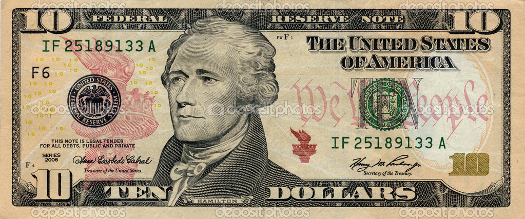 Fine image closeup of 10 american dollar — Stock Photo #1063228