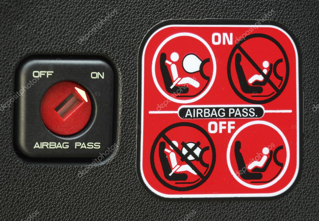 Close up image of airbag stickers of modern car — Stock Photo #1063404