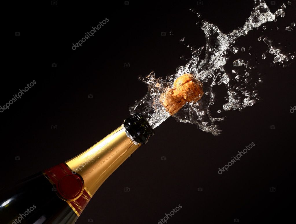 Champagne bottle with shotting cork background — Stock Photo #1064798