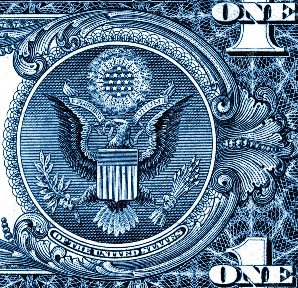 Close up of eagle one dollar detail background — Stock Photo #1065129