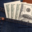 Dollar in pocket — Foto de Stock