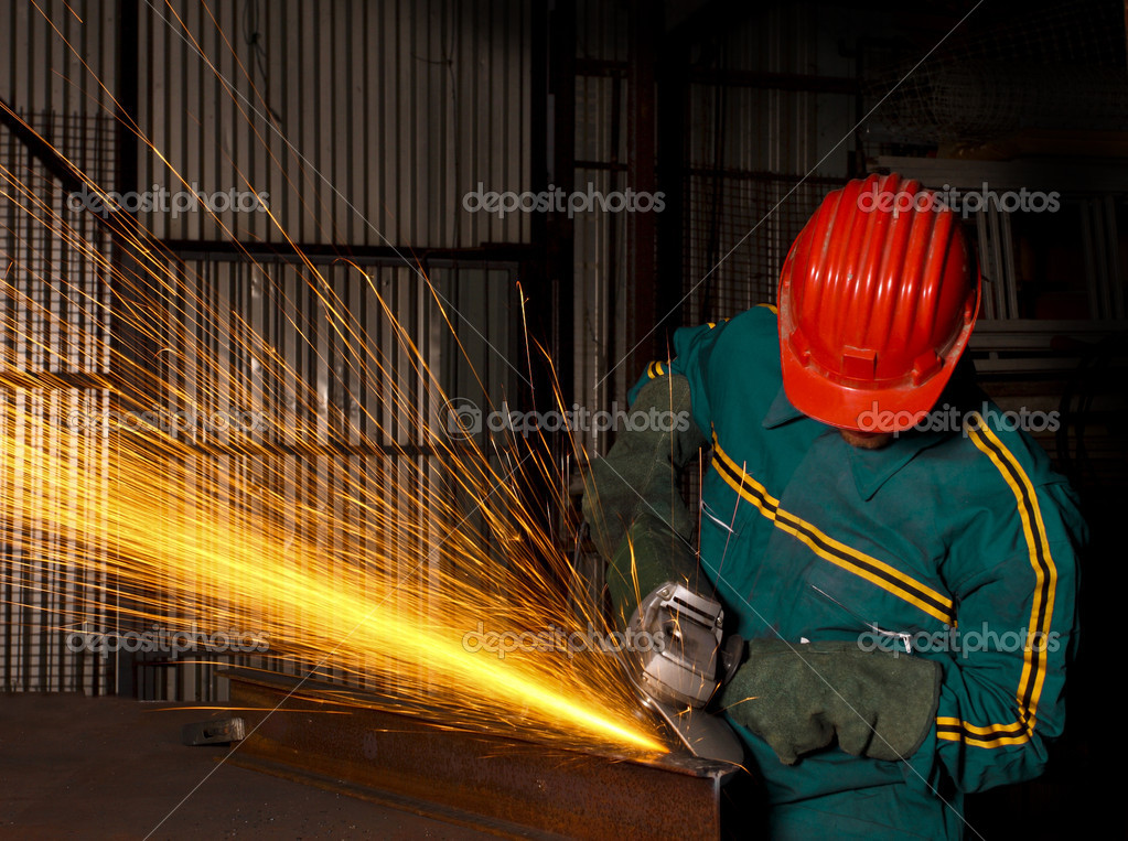 Heavy industry manual worker with grinder  — Stock Photo #1071113