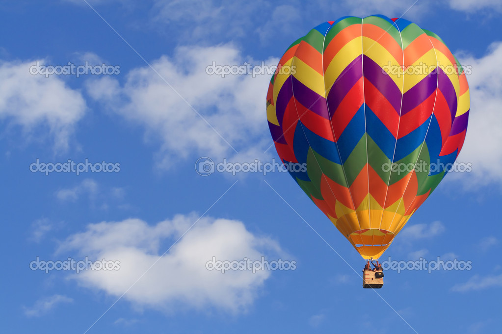 Fine image of white clouds and blue sky and air balloon — Stock fotografie #1080023
