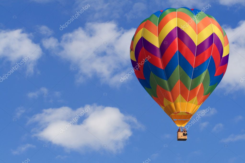 Fine image of white clouds and blue sky and air balloon — Photo #1080023