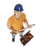 Constructor worker and tools — Stock Photo