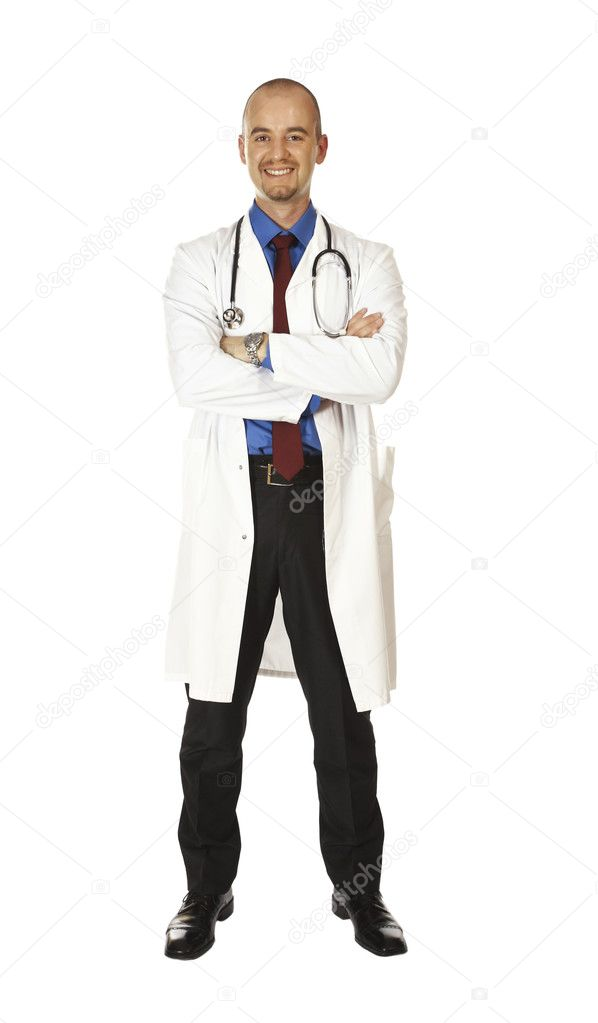 Isolated young caucasian doctor view from above  Stock Photo #1196890