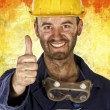Confident labourer thumn up — Stock Photo #1203967