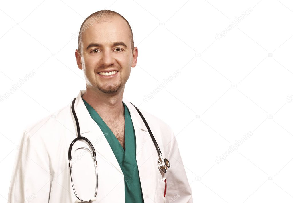 Caucasian confident doctor isolated on white background — Stock Photo #1203779