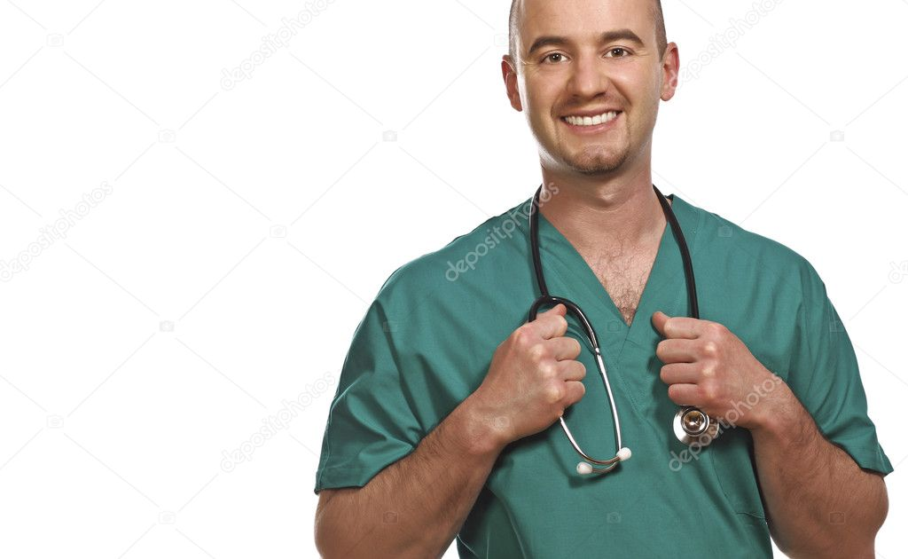 Fine portrait of smiling young doctor isolated on white — Stockfoto #1203962
