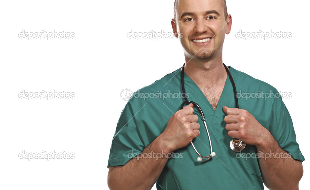 Fine portrait of smiling young doctor isolated on white — Foto Stock #1203962