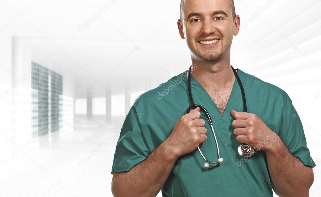 Fine close up portrait of doctor inside a modern building — Foto Stock #1204016
