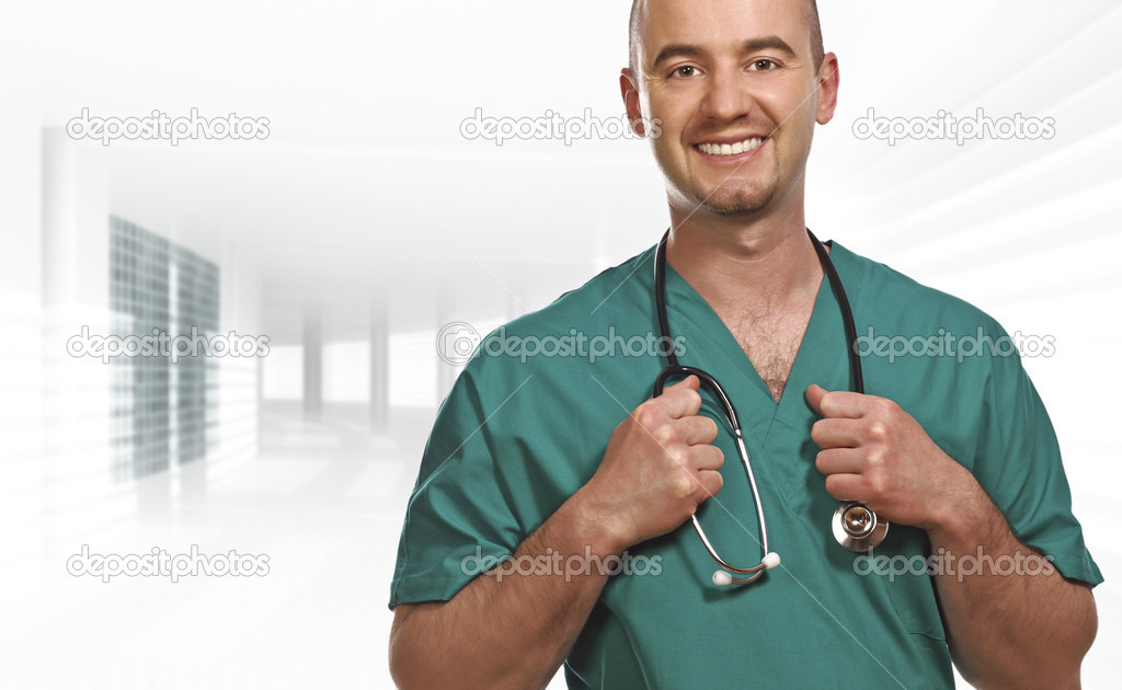 Fine close up portrait of doctor inside a modern building  Foto de Stock   #1204016