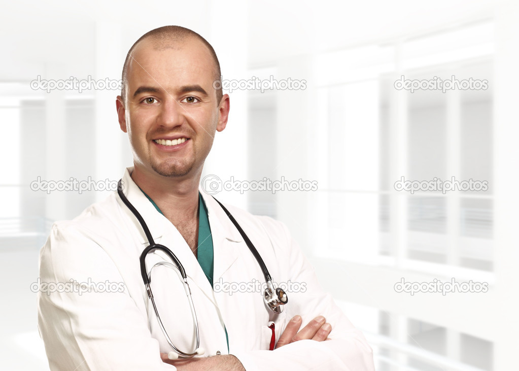 Fine close up portrait of doctor isolated and modern building — Stock Photo #1204070