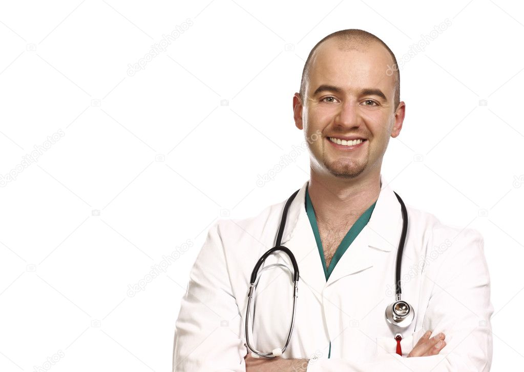 Fine close up portrait of doctor isolated on white background — Stock Photo #1204088