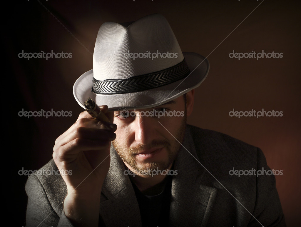 Fine image of caucasian smoking man portrait vintage style  Stock Photo #1399212
