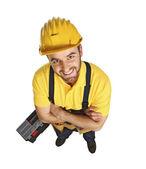 Fun contruction worker portrait — Stock Photo